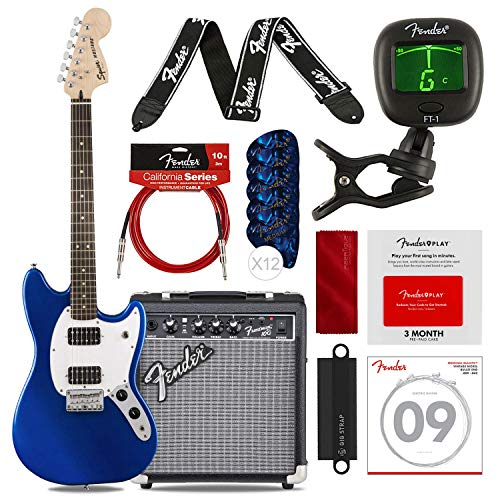 Fender Bullet Mustang HH 6 String Electric Guitar, Imperial Blue with Fender FRONTMAN 10G 120V Amp, Fender Play Pre-Paid Card, Guitar Strap, Picks, Tuner, Cable & Complete Starters Pack Bundle