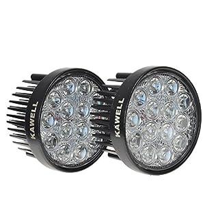 KAWELLÂ 2 Pack 42W 60 Degree Round LED Flood Light Off Road Lighting 12V 24V Off Road 4x4 Quad Atv Lighting