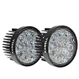KAWELLÂ 2 Pack 42W 60 Degree Round LED Flood Light Off Road Lighting 12V 24V Off Road 4x4 Quad Atv Lighting