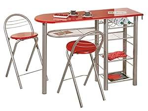 Links 50901200 Brigitte - Juego de Barra y 2 Taburetes para Cocina, color rojo