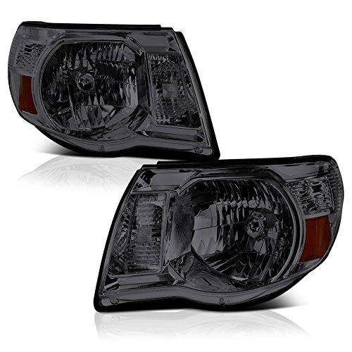 VIPMOTOZ Chrome Smoke OE-Style Headlight Headlamp Assembly For 2005-2011 Toyota Tacoma Pickup Truck, Driver & Passenger Side