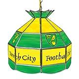 Trademark Gameroom Premier League Norwich City 16-Inch Handmade Tiffany Style Lamp