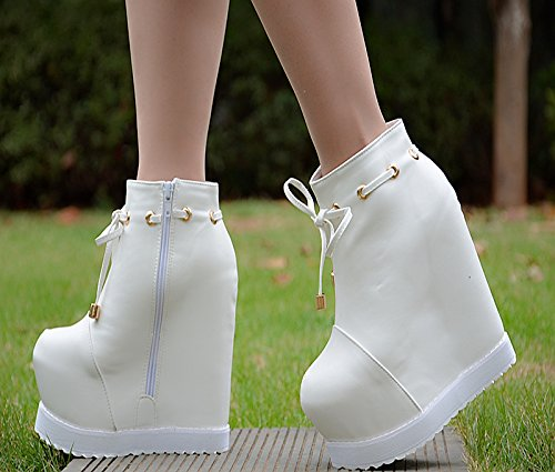 boots round short heel high shoe GaoXiao White cm bow 15 P8xXT1