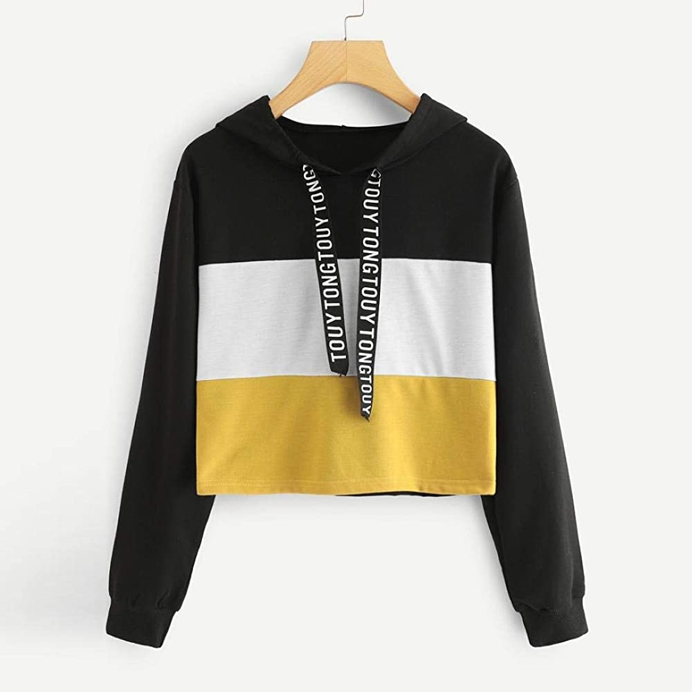 Men Casual Color Stitching Long Sleeve Pullover Hooded Drawstring Sweatshirt Letter Print Holes Broken Tops