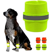 1 Pair Knee Brace Support Pads Dog Brace Paw Compression Wrap With Fluorescent Wristbands Pets Safety Care For Dog Training Brace Heals and Prevents Injuries Sprains Helps, Orange - Size S M L (S)