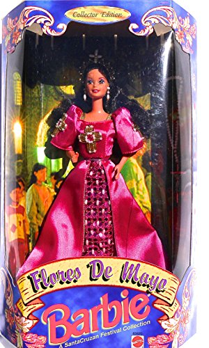 Filipina Flores de Mayo LE Reyna Fe Barbie in Fuchsia Satin Gown with Beaded Crosses - - Dolls Filipino Barbie