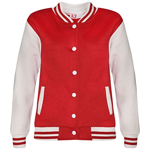 Kids Girls Boys Baseball Jacket Varsity Style Plain Red School Jackets Top 5-13Y by A2Z 4 Kids®