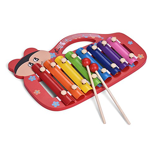 Muslady Colorful Cute 8 Notes Xylophone Glockenspiel with 2 Mallets Educational Percussion Instrument Musical Toy Gift for Kids Children by Muslady