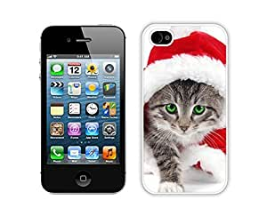 Customized Portfolio Red Christmas Walking Kitten Iphone 4s,Apple Iphone 4s White TPU Cover Case