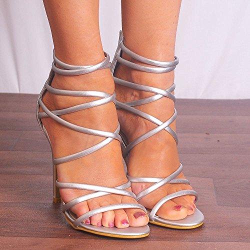 Caviglia Donna Alti Scarpe Stiletti Argento Metallico Alla Peep Cinturino Sandali Tacchi Toe Scarpiera Con SF7qXwdF