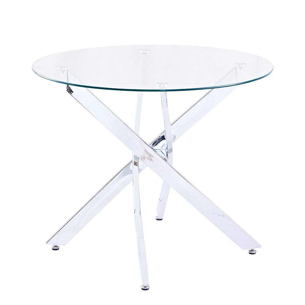 SICOTAS 35.4'' Round Dining Table with Clear Safety Tempered Glass Top Stable Chrome Cross Legs,Small Kitchen Table for 4 Person (Table Only) by SICOTAS (Image #1)