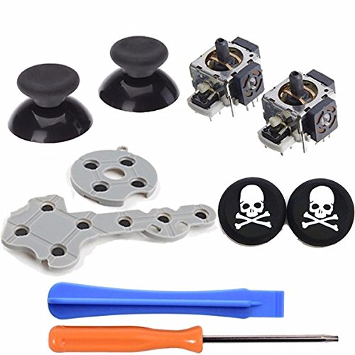 - Conductive Silicone Pad+ 3D Analog Vibration Joystick +Thumb Stick Rocker Mushroom Cap+2x silicone Caps For XBOX 360 Controller