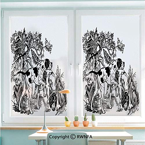 RWNFA Window Glass Sticker Door Mural Hunting Dogs in Forest Monochrome Drawing English Pointer and Setter Breeds Static Cling Privacy No Glue Film Home Decorative 22.8x35.4inch,Black White (Water Heater Pointer)