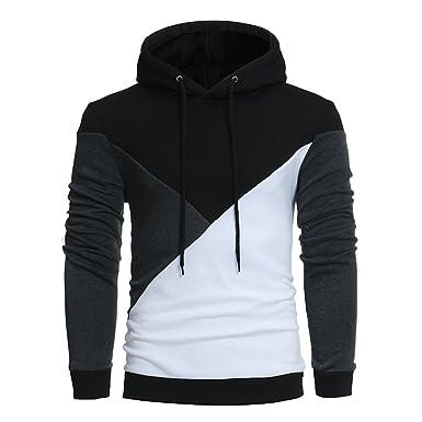 b03c5d6fdb9 OHQ Chandail à Capuchon Couleur Manches Longues pour Hommes Gris Noir Sweat-Shirt  Capuche Veste