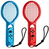 Ledgle Tennis Racket for Nintendo Switch KINGTOP Twin Pack Tennis Racket for N-Switch Joy-Con Controllers for Mario Tennis Aces Game, Red and Blue, Set of 2
