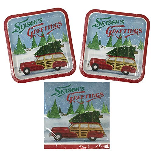 Christmas Holiday Paper Plates and Napkins Disposable Set (Vintage Wagon, Luncheon)