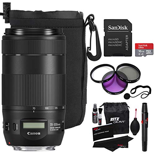 Canon 70-300mm f/4-5.6 is II USM Lens, Filter Kit, Memory Card, Ritz Gear Cleaning Kit, Protective Pouch, Polaroid Lens Cap Strap and Premium Accessory Bundle