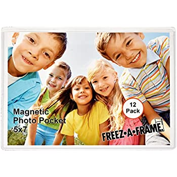 12 Pack 5 x 7 Magnetic Picture Frames Pockets Sleeves Holds 5 x 7 Inches Photo for Refrigerator by Freez-A-Frame Made in the USA