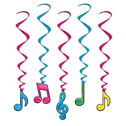 Beistle 57623-N 5-Pack Neon Musical Note Whirls, 3-Feet