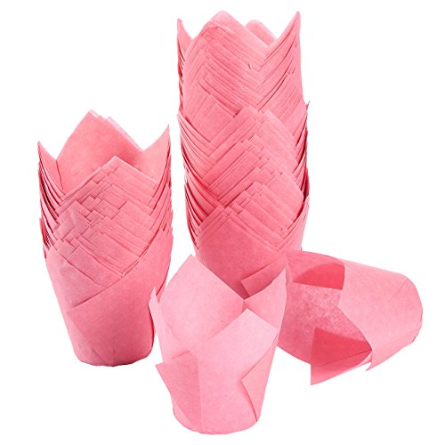 Tulip Cupcake Liners, 150 Pack, Medium - Baking Cups - Muffin Wrappers - Perfect for Bakeries, Catering, Restaurants, Pink
