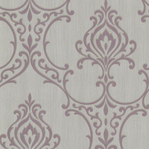 Beacon House 495-69022 Scott Mauve Nouveau Damask Wallpaper -  Brewster