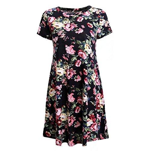 TM Floral Swing Short Mini Neck BetterGirl Sleeve Casual Round Dress Black Womens Print 6dqznp