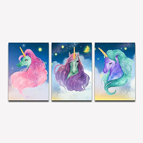 Purple Verbena Art Lovely Unicorn Star Picture Prints on Canvas for Walls Decor, 3 Pieces Streched Framed Modern Giclee Painting for Kid