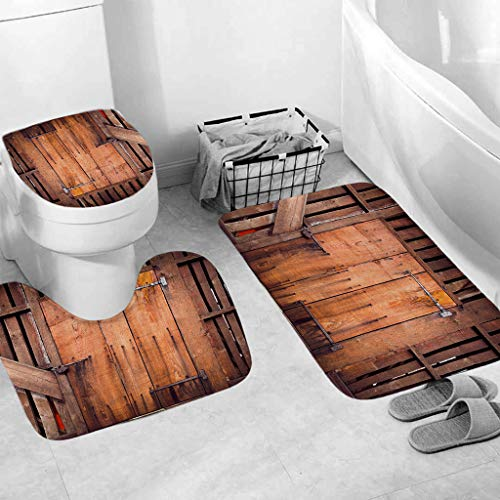 Weiliru 2019 New 3PCS Soft Bath Rug Set for Bathroom Non Slip Bath Mat Contour Mat /& Toilet Lid Cover