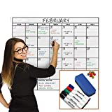 OfficeThink Laminated Jumbo Organizing Calendar, Huge 36-Inch by 48-Inch Size, Extra Large Date Boxes, Easy Erase PET Film, Never Folded, Bonus 8...