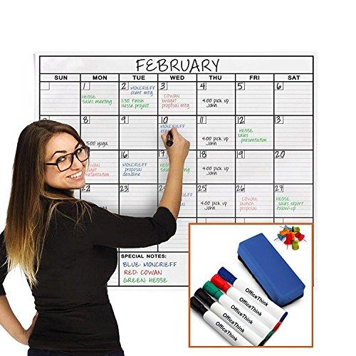 OfficeThink Laminated Jumbo Organizing Calendar - Huge 24-Inch by 36-Inch Size - Extra Large Date Boxes - Easy Erase PET Film - Never Folded - Bonus 8 Jumbo Tacks - 5 Markers - 1 Eraser Included