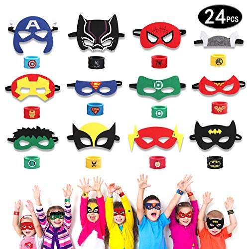 HXDZFX 24PCS Superhero Party Masks & Superhero Slap Bracelet for Kids Baby - The Avengers Super Heroes Birthday Party Supplies Favors Children/Kids/Adults]()