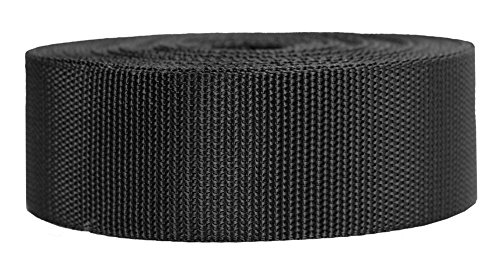Strapworks Heavyweight Polypropylene Webbing - Heavy Duty Poly Strapping for Outdoor DIY Gear Repair, 2 Inch x 25 Yards - Black