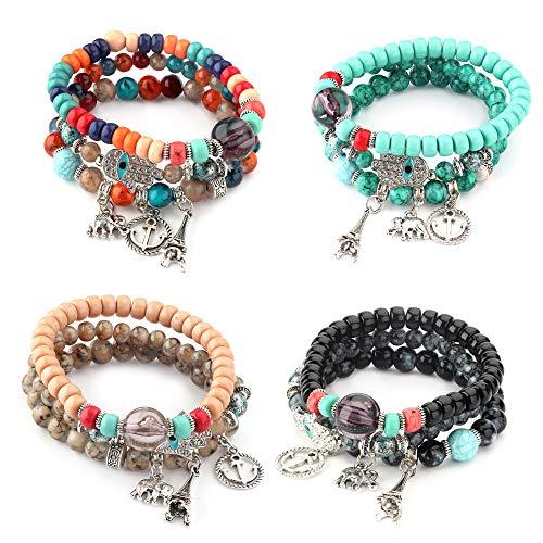 Bangle Bracelet Beaded Stretch (Thunaraz 4 Sets Bohemian Stretch Beaded Bracelets for Women Girls Multilayer Stackable Bracelets Strand Bangles)