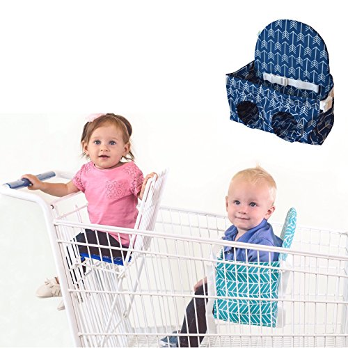 Buggy Bench Shopping Cart Seat in Ocean Blue for Baby, Toddler, and Twins (Up To 40 Pounds)