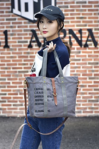 Shoulder Handbag Canvas Women's Hobo Totes Bag Ladies Gray A4WBwq7
