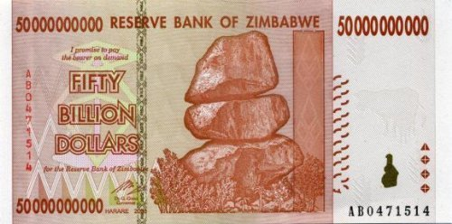 Zimbabwe 50 Billion Dollar Bank Note Bill Money Inflation Record Currency Note by Zimbabwe Central Bank
