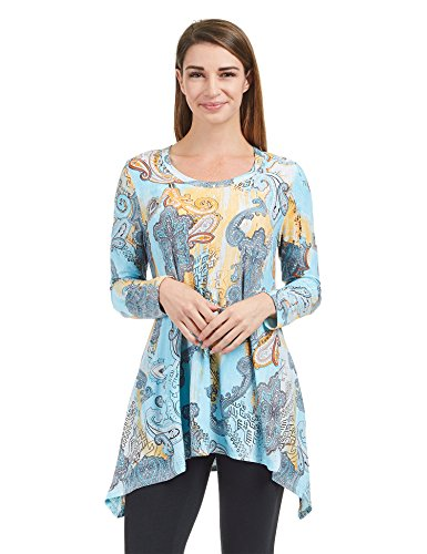Come Together California CTC Womens WT1346 Print Long Sleeve Trapeze Tunic Top - Made In USA M Aqua (Made Clothing Usa In Women)