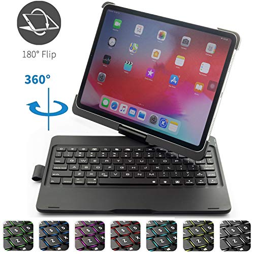 Addprime iPad Pro 11 Keyboard Case with Pencil Holder, 7Colors Backlit 360°Rotatable Black Solid ABS Shell and Back Plate Chocolate ABS Button Wireless Keyboard Case Compatible for iPad Pro 11