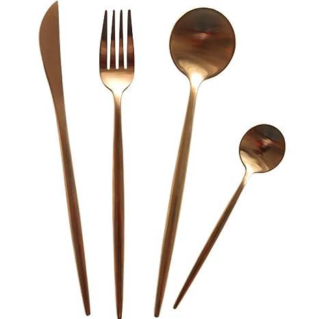 Cuchillo para bistec y cuchara tenedor juego de cubiertos ...