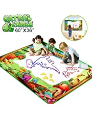 "Betheaces Water Doodle Drawing Mat,Dinosaur Play Mats for Kids Extra Large 60"" X 36"" Aqua Painting Gift Mess Free Writing 7 Rainbow Colors with Magic Pens for Boy Girl Toddler Baby"