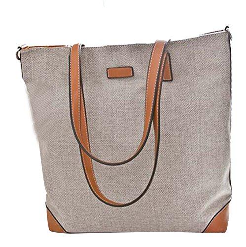 Fashion Women's Linen large Capacity Handbag Coach Tote Handbags(Grey)