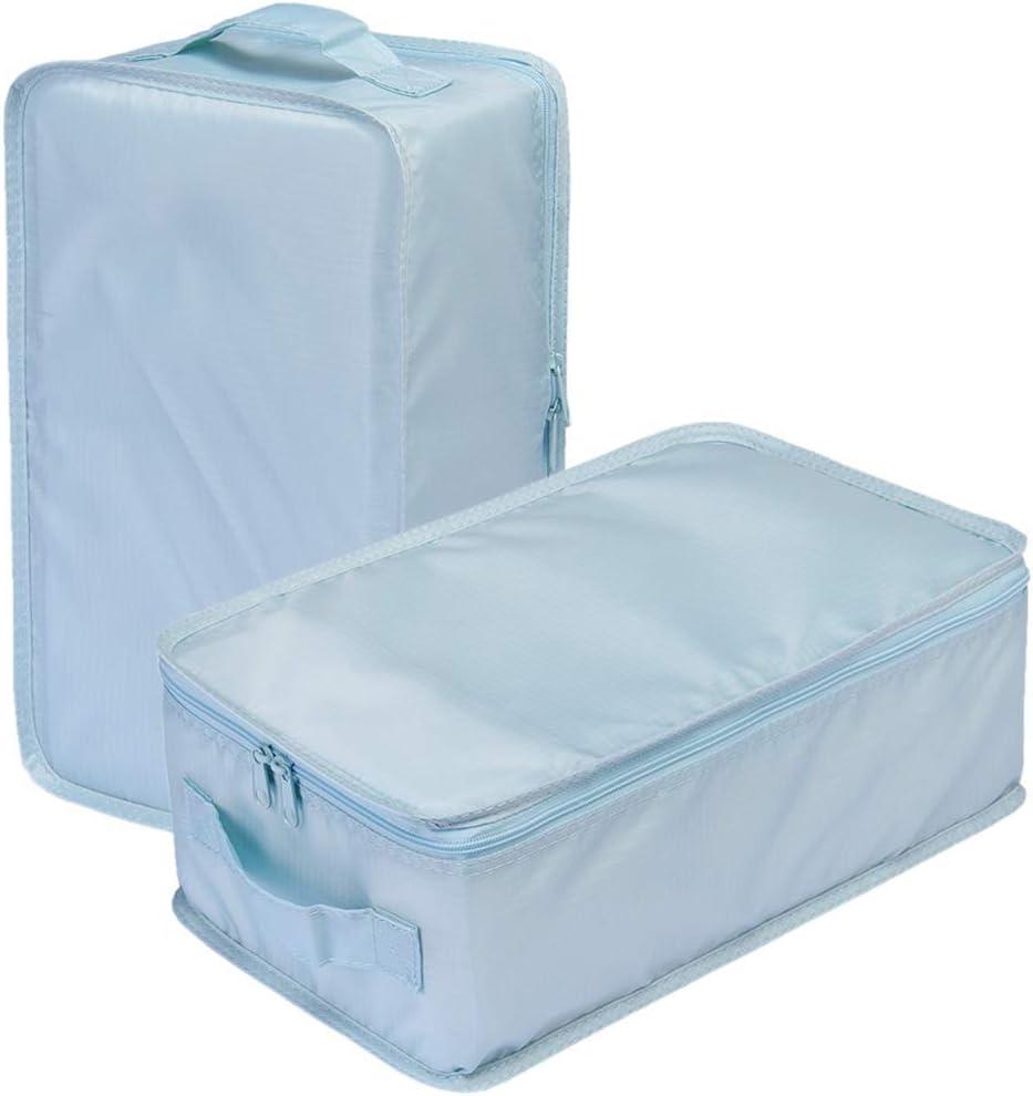 Travel Shoe Bags, Foldable Waterproof Shoe Pouches Organizer-Double Layer (2 Blue Shoe Bags)