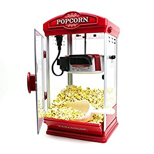 Vintage Theater Style Popcorn Machine Maker Pop Pup 8 Oz. Home Kitchen Party Snack, Red