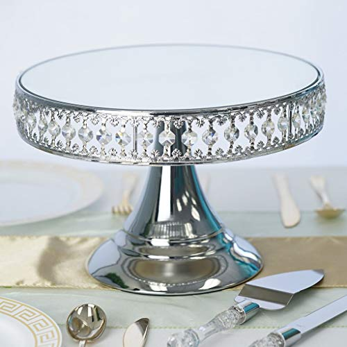 all Silver Crystal Beaded Round Cake Stand with Mirror Top - Birthday Party Wedding Dessert Centerpiece Riser ()