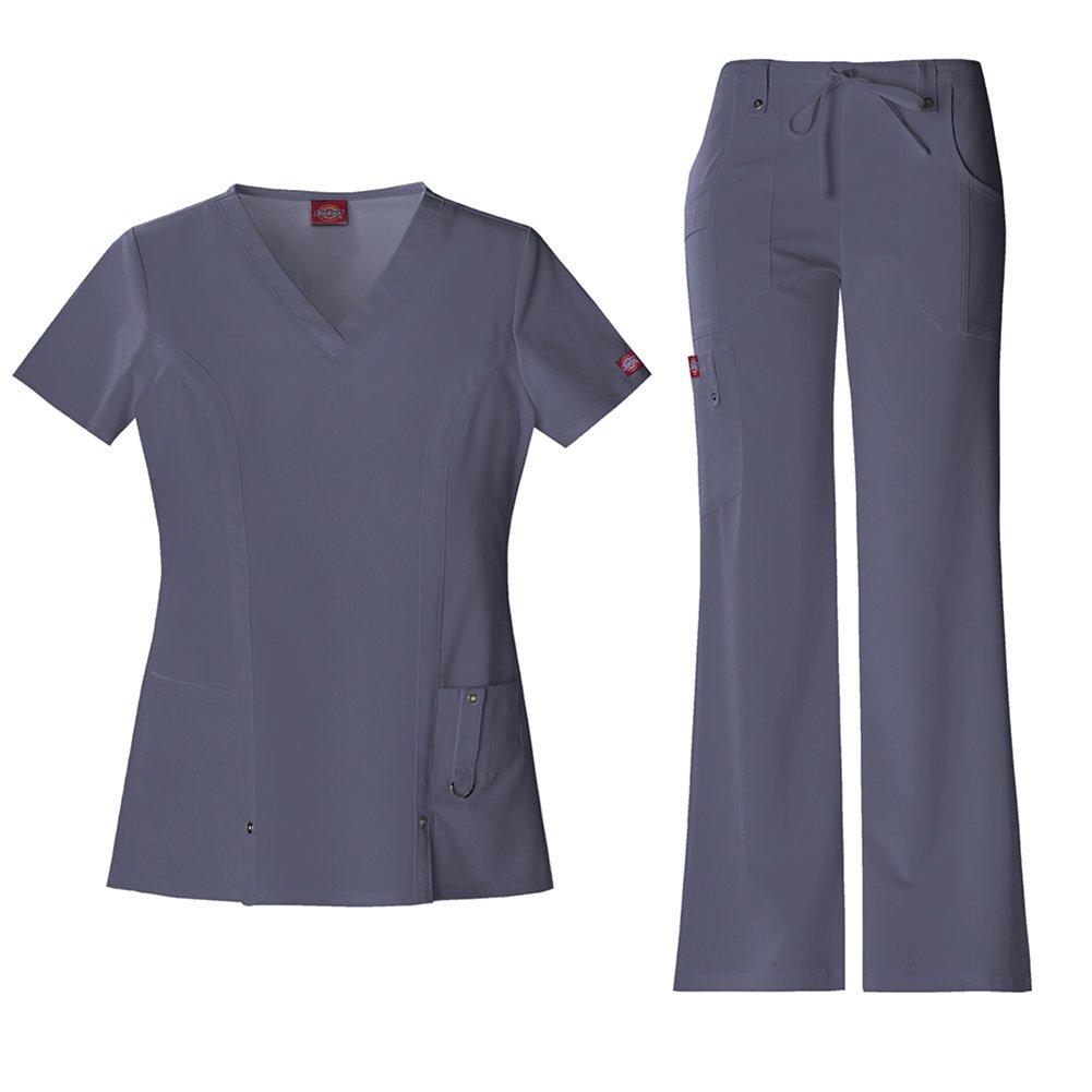 Dickies Xtreme Stretch Women's 82851 V-Neck Top & 82011 Drawstring Pant Medical Uniform Scrub Set (Pewter - XX-Large)