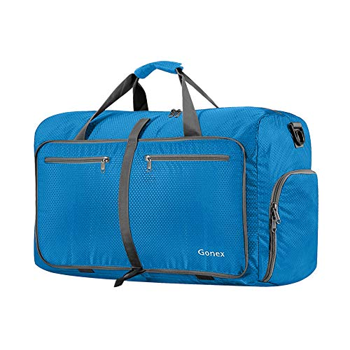 Gonex 40L Packable Travel Duffle Bag for Boarding Airline, Lightweight Gym Duffle Water Repellent & Tear Resistant Blue (Best Carry On Duffle)