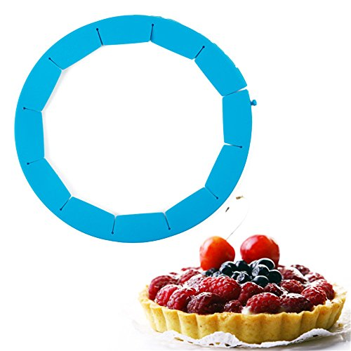 SHEbaking Designs Adjustable Fluted Pie Crust Shield, BPA-free Silicone, Blue, Fits 7.87