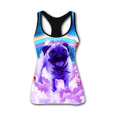 bbc3b392732 Amazon.com  Rainbow Space Women s Rainbow Unicorn Pug in The Clouds Female  Crew Neck Vest  Clothing