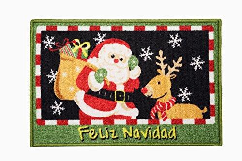 Seamersey Home and Kitchen Christmas Area Rugs Decorative Non-Slip Rubber Backing Doorway Hallway Floor Mat Doormat (Outdoor Christmas Rugs)