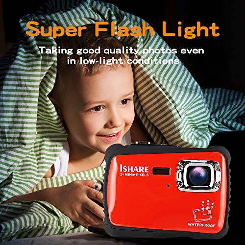 Waterproof Digital Camera for Kids, ishare Update Underwater Camera with 2.0'' LCD, 8X Digital Zoom, 1080p Flash and Mic for Girls/Boys(RED) by ISHARE (Image #4)